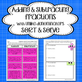 Adding and Subtracting Fractions ~ Word Problems Sort & Solve