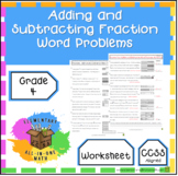 Adding and Subtracting Fractions - Word Problems Worksheet (4.NF.3)