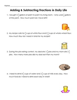 adding and subtracting fractions word problems worksheet by spencer  adding and subtracting fractions word problems worksheet