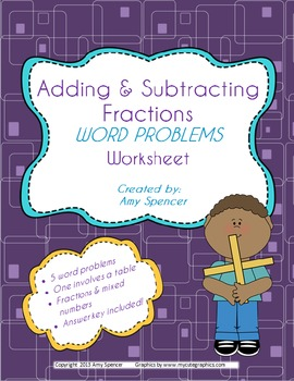 Adding and Subtracting Fractions Word Problems worksheet