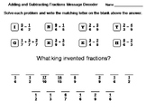 Adding and Subtracting Fractions Worksheet: Math Message Decoder