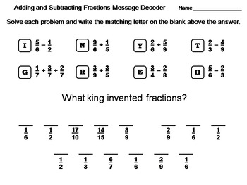 Adding And Subtracting Fractions Worksheet Teaching Resources   Adding And Subtracting Fractions Worksheet Math Message Decoder