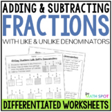 Adding and Subtracting Fractions Worksheets Bundle
