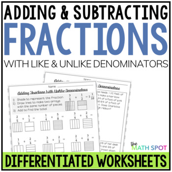 Adding and Subtracting Fractions Worksheets Bundle | Distance Learning Packet