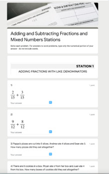 Adding and Subtracting Fractions and Mixed Number Stations - Editable