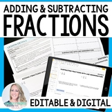 Adding and Subtracting Fractions and Mixed Number Stations