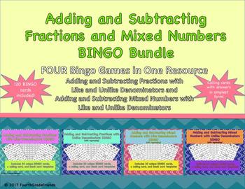 Fractions and Mixed Numbers BINGO Bundle