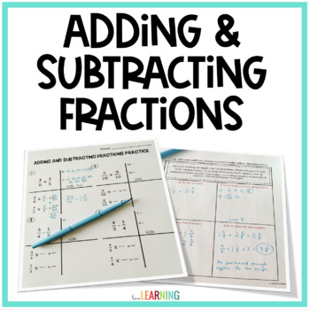 Adding and Subtracting Fractions and Mixed Numbers Unit