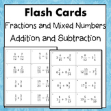 Fractions and Mixed Numbers Adding and Subtracting Flash Cards 5.NF.1