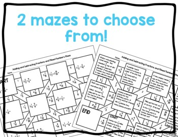 Adding and Subtracting Fractions and Mixed Numbers Maze Activity