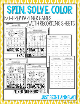 Adding and Subtracting Fractions and Mixed Numbers No-Prep Games