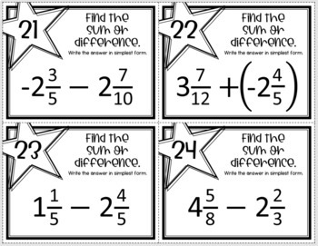 Adding and Subtracting Fractions and Mixed Numbers (Task Cards)