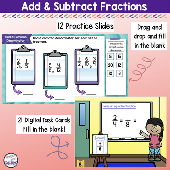 Adding and Subtracting Fractions and Mixed Numbers for use with Google Apps