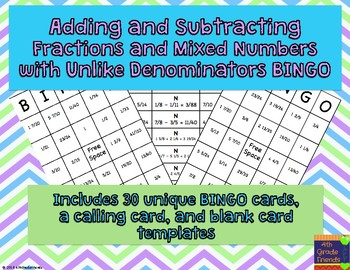Adding and Subtracting Fractions and Mixed Numbers w/ Unlike Denominators BINGO