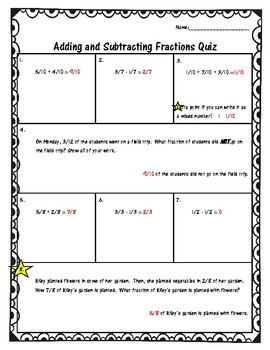 Adding and Subtracting Fractions -common denominators