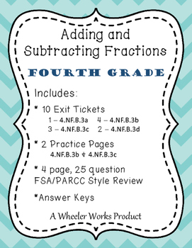 Adding and Subtracting Fractions for Fourth Grade: Exit Tickets & More