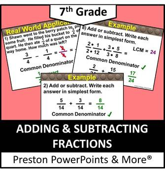 (7th) Adding and Subtracting Fractions in a PowerPoint Presentation
