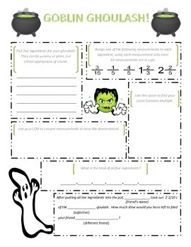 Adding and Subtracting Fractions (unlike denominators) - Halloween Activity