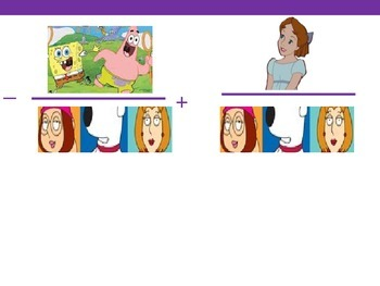 Adding and Subtracting Fractions using Cartoon Characters
