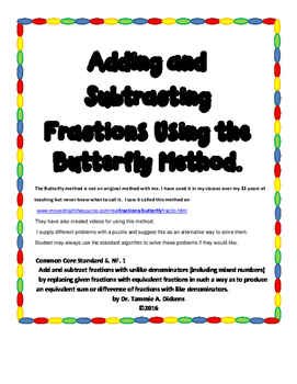 Adding and Subtracting Fractions using the butterfly method
