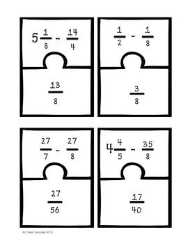 Adding and Subtracting Fractions w/ Unlike Denominators [Match Puzzle Pieces]