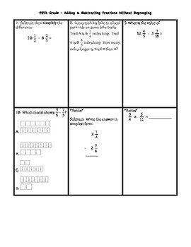 Adding and Subtracting Fractions w/ Unlike denominators TEST