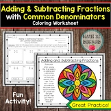 Adding and Subtracting Fractions with Common Denominators Coloring Worksheet