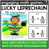 Saint Patrick's Adding & Subtracting Fractions with Different Denominators Game
