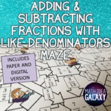Adding & Subtracting Fractions Like Denominators Digital Activity