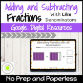 Adding and Subtracting Fractions with Like Denominators Di