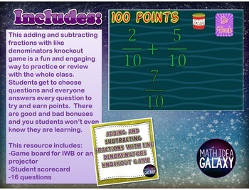 Adding and Subtracting Fractions with Like Denominators Game Bundle