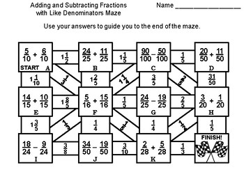 Adding and Subtracting Fractions with Like Denominators Game: Math Maze