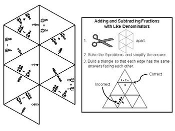 Adding and Subtracting Fractions with Like Denominators Game: Math Tarsia Puzzle