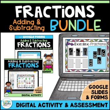 Adding and Subtracting Fractions with Like Denominators Google BUNDLE