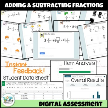 Adding and Subtracting Fractions with Like Denominators Google Form Assessment