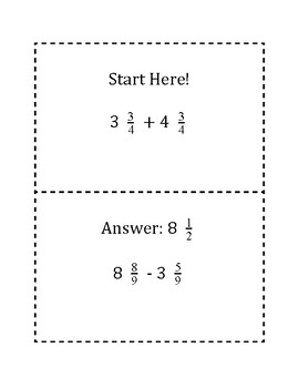 Adding and Subtracting Fractions with Like Denominators Scavenger Hunt