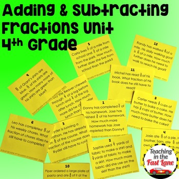 Adding and Subtracting Fractions with Like Denominators Unit 4th Grade