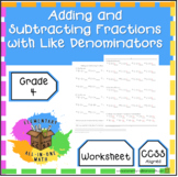 Adding and Subtracting Fractions with Like Denominators Wo
