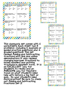 Adding and Subtracting Fractions with Like and Unlike Denominators Classwork  1