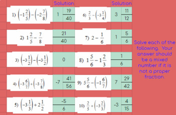 Adding and Subtracting Fractions with Mixed Numbers - Google Classroom