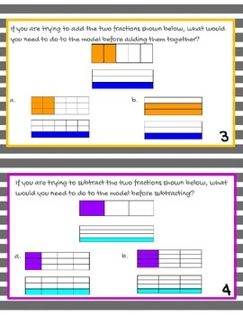 Adding and Subtracting Fractions with Models (unlike denominators) Task Cards