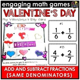 Valentine's Day Adding and Subtracting Fractions with Same Denominator