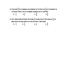 Math VA SOL 4th Adding and Subtracting Fractions with Unlike Denominators