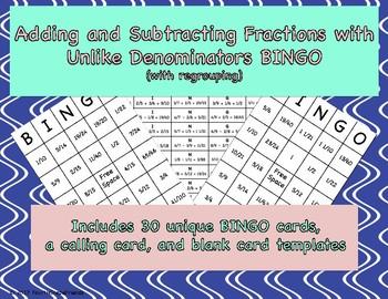 Adding and Subtracting Fractions with Unlike Denominators BINGO