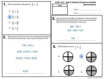 Adding and Subtracting Fractions with Unlike Denominators (5.NF.1 & 2)