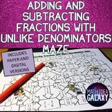 Adding and Subtracting Fractions with Unlike Denominators Activity
