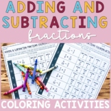 Adding and Subtracting Fractions with Unlike Denominators Coloring Activity