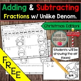 Adding and Subtracting Fractions with Unlike Denominators Drawing Activity