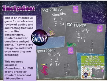 Adding and Subtracting Fractions with Unlike Denominators Game Bundle