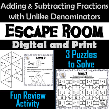 Adding and Subtracting Fractions with Unlike Denominators Game: Math Escape Room